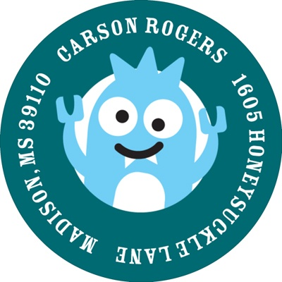 My Little Monsters in Blue  Address Labels