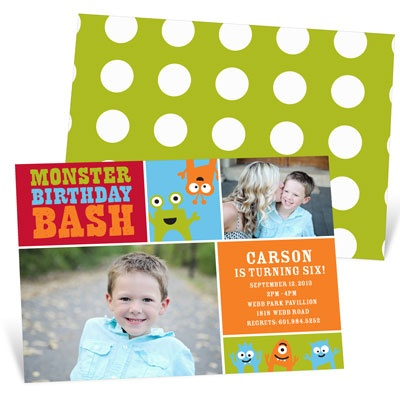 Monster Mix In Red Kids Birthday Invitations