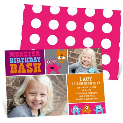 Monster Mix In Purple Kids Birthday Invitations