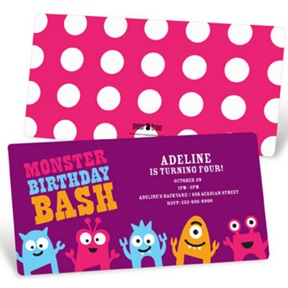 My Little Monsters in Purple -- Kids Birthday Invitations