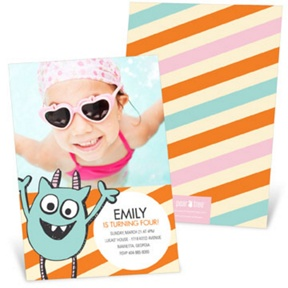 Monster Party in Orange -- Kids Birthday Invitations