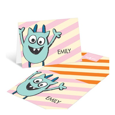 Monster Party in Orange Thank You Cards