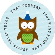 Blue Party Owl Address Labels