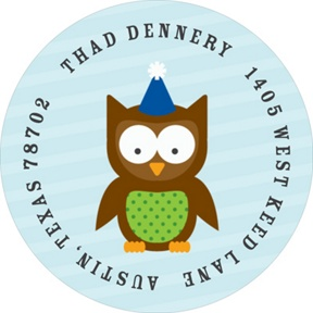 Blue Party Owl -- Address Labels