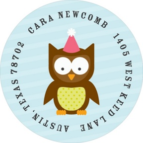Pink Party Owl -- Address Labels
