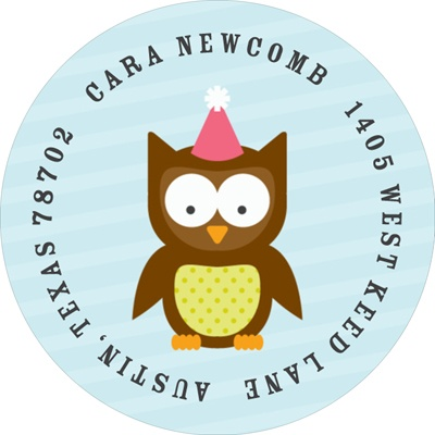 Pink Party Owl Address Labels