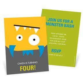 Upside Down Monster Bash -- Kids Birthday Invitations