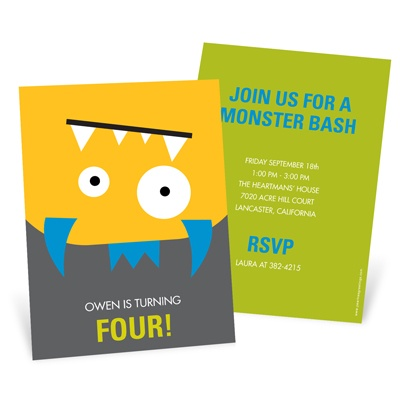 Upside Down Monster Bash Kids Birthday Invitations