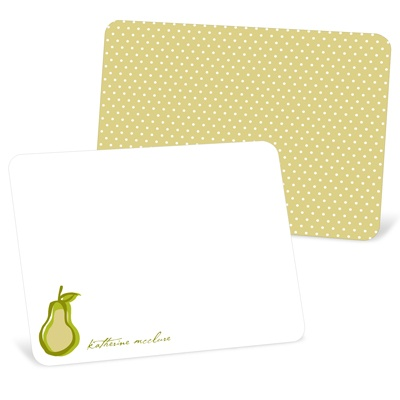 Perfect Pear in Green Note Cards
