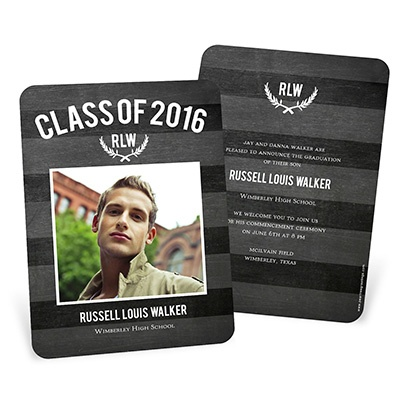 Chalk Monogram -- Graduation Announcements & Invitations