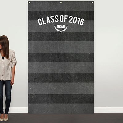 Striped Chalkboard Photo Backdrop Graduation Party Decorations