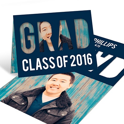 Grad Cutout Horizontal Graduation Announcements