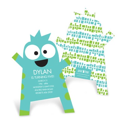 Monster Hug Cut Out Kids Birthday Invitations