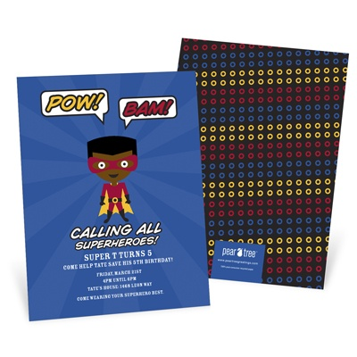 He's A Caped Crusader Kids Birthday Invitations