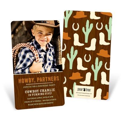 Howdy Partners Kids Birthday Invitations