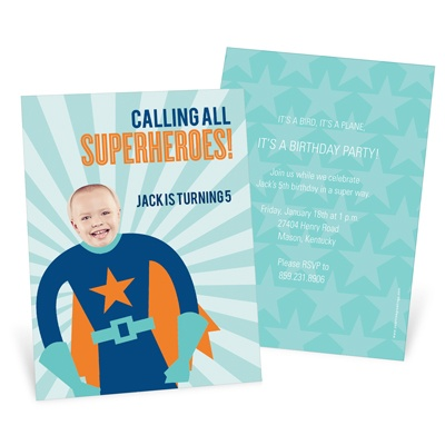 Picture Me Blue Superhero Kids Birthday Invitations