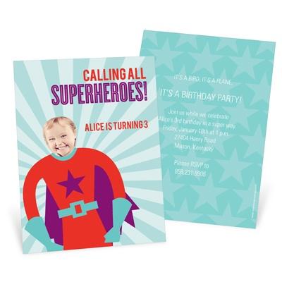 Picture Me Red Superhero Kids Birthday Invitations