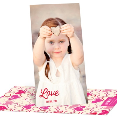 Sketched Hearts Vertical Photo Valentine's Day Photo Cards