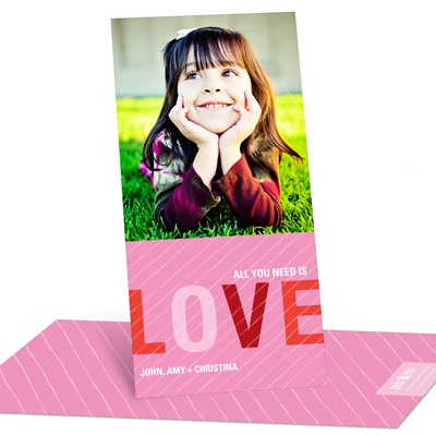 Striped Love Vertical Photo Valentine's Day Photo Cards