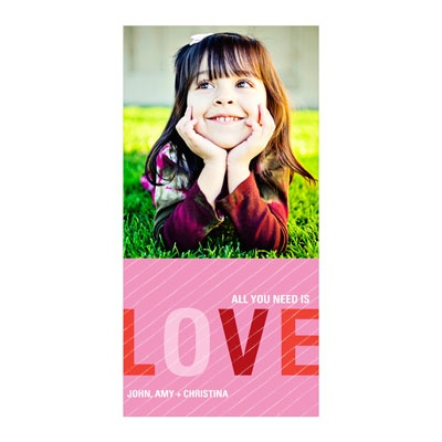 Striped Love Vertical Photo Paper Valentine's Day Photo Cards