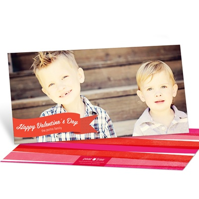 Sweet Watercolor Horizontal Photo Valentine's Day Photo Cards