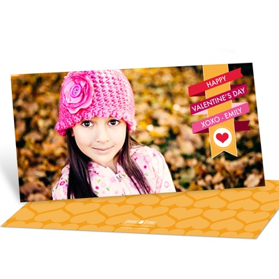 Wrapped in Ribbon Horizontal Photo Valentine's Day Photo Cards