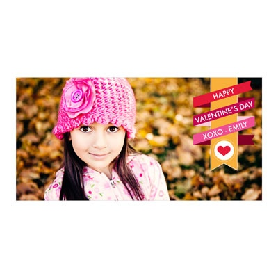 Wrapped Ribbon Horizontal Photo Paper Valentine's Day Photo Cards