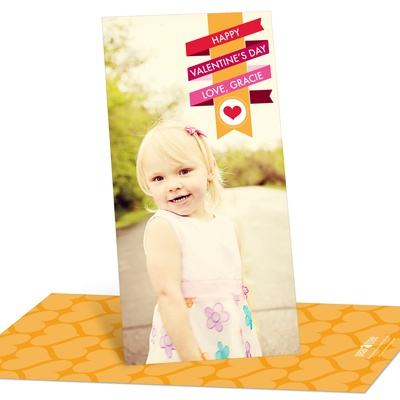 Wrapped in Ribbon Vertical Photo Valentine's Day Photo Cards
