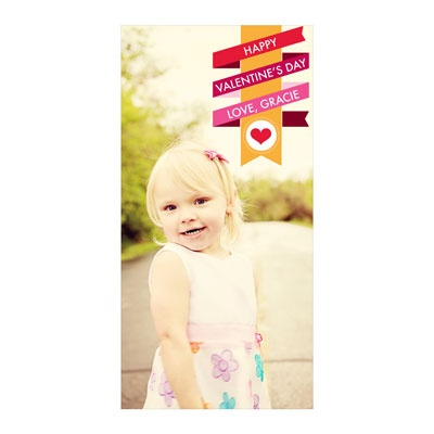 Wrapped in Ribbon Vertical Photo Paper Valentine's Day Photo Cards