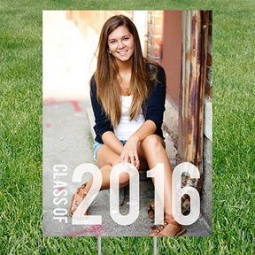 Class Year Vertical Photo Yard Sign -- Graduation Party Decorations