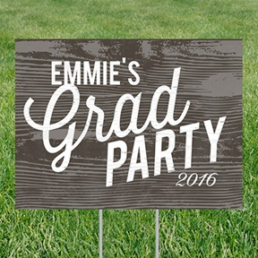 Weathered Wood Look Yard Sign -- Graduation Party Decorations