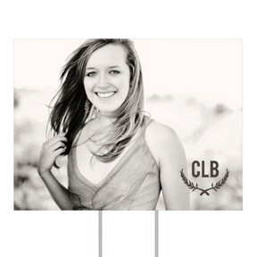 Monogrammed Photo Yard Sign -- Graduation Party Decorations