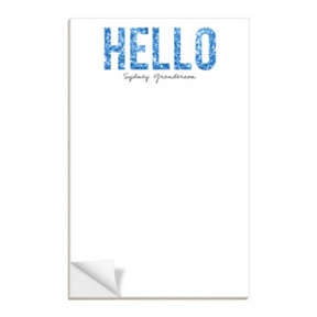 Custom Notepads -- Hello Blue Glitter