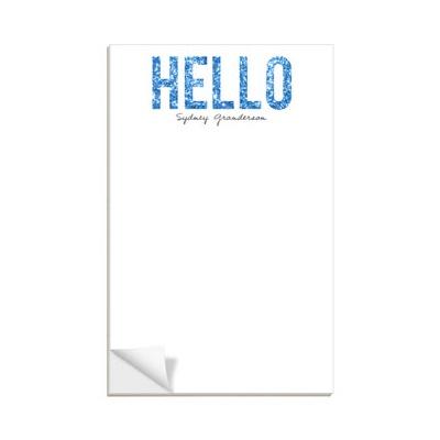 Custom Notepads Hello Blue Glitter