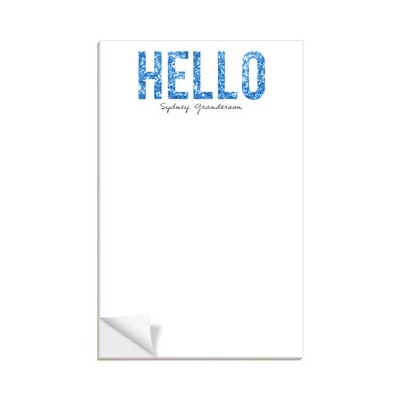 Hello Blue Glitter Notepads