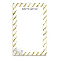 Glittery Gold Stripes Custom Notepads