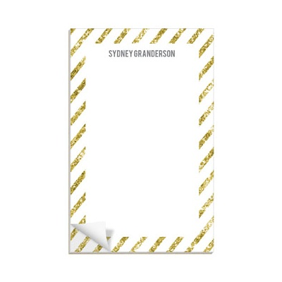 Glittery Gold Stripes Custom Notepads