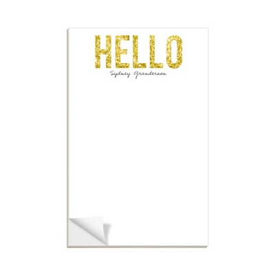 Hello Gold Glitter Custom Notepads