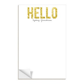 Hello Gold Glitter -- Notepads