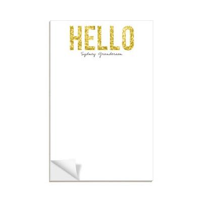 Hello Gold Glitter Notepads