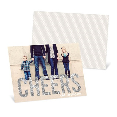 Glitter-Look Cheers Horizontal Photo New Year's Cards