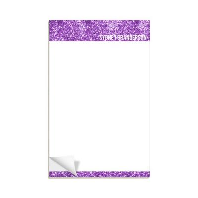 Purple Glitter Letterhead Custom Notepads