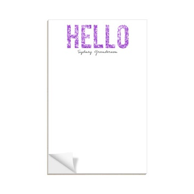 Hello Purple Glitter Notepads