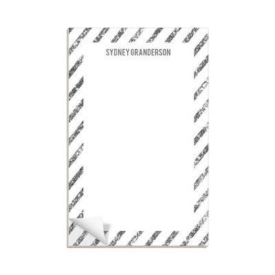 Glittery Silver Stripes Custom Notepads