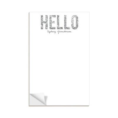 Hello Silver Glitter Custom Notepads