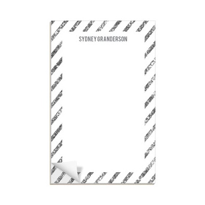Glittery Silver Stripes Notepads