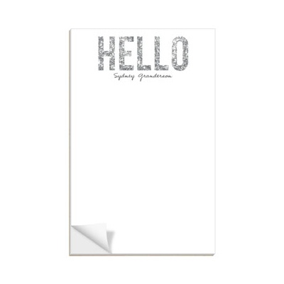 Hello Silver Glitter Notepads