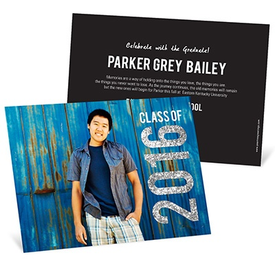 Glam Grad Horizontal Photo College Graduation Announcements