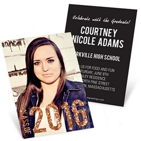 Glam Grad Vertical -- Mini Graduation Announcements