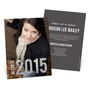 Glam Grad Vertical Photo -- College Graduation Announcements